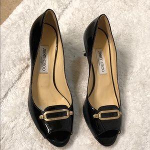 Jimmy Choo Patent Peep Toe Heels